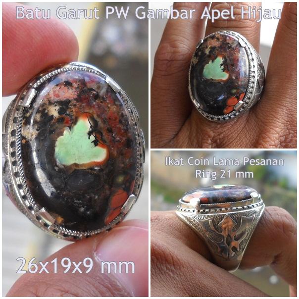 AG185- SOLD - Batu Garut Pancawarna Gambar Apel - Antik !!!