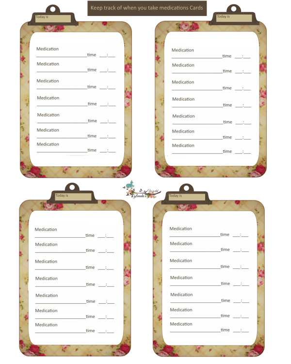 glenda s world journal cards to keep track of medications