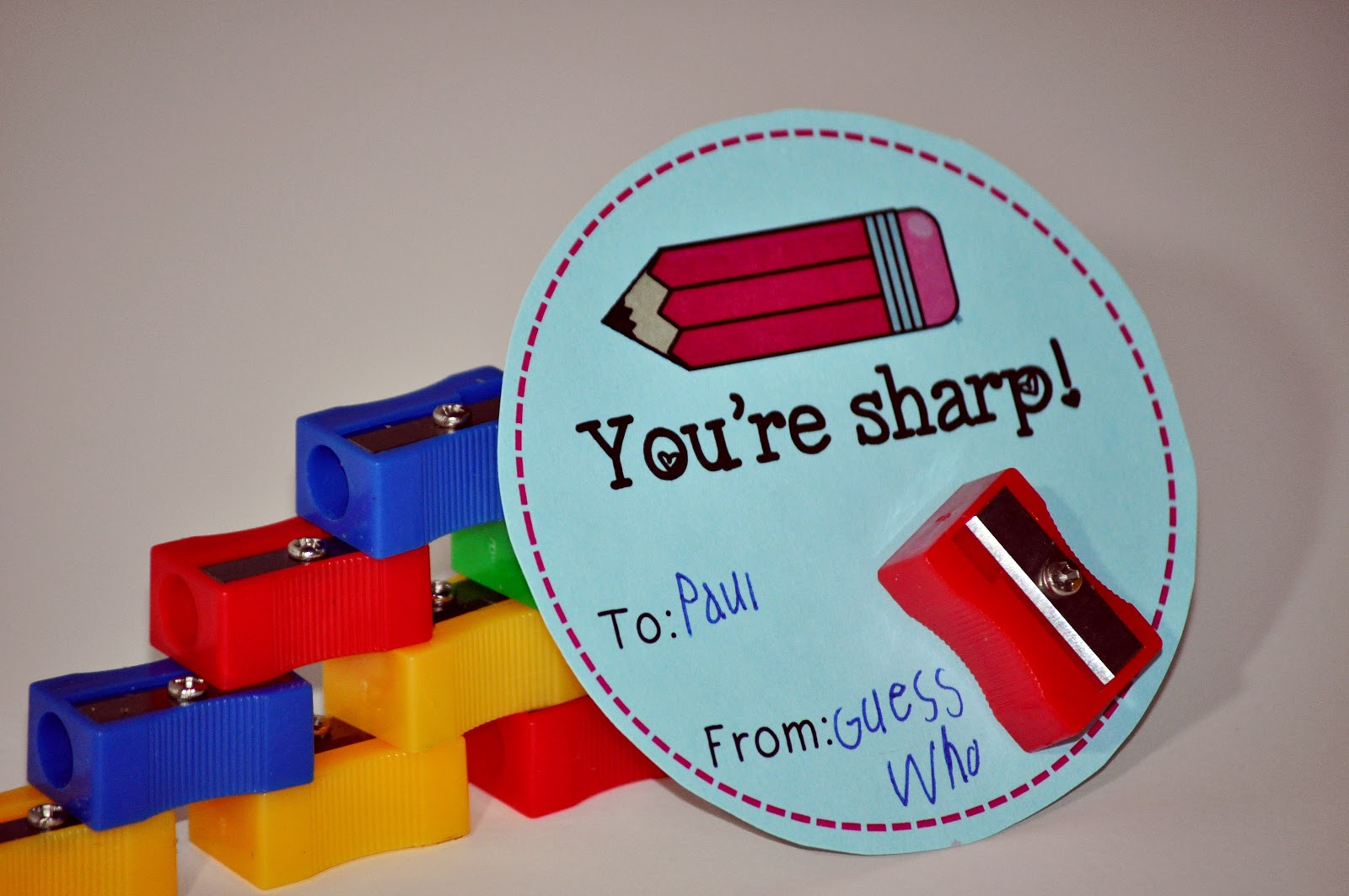 Valentine with pencil sharpener