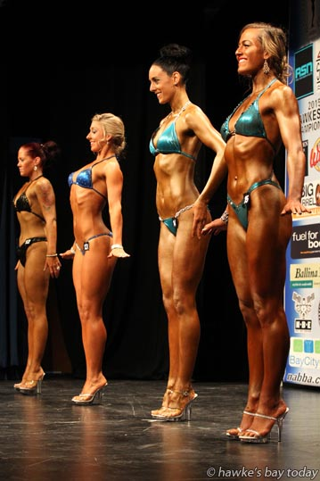 Athletes compete in the 10th annual NABBA NZ Hawke's Bay Bodybuilding Championships at Taradale High School, Napier. photograph