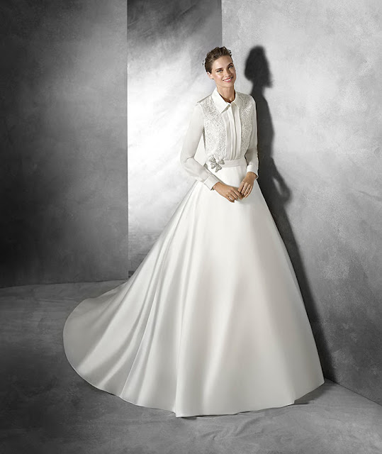 2016 Pronovias long sleeved shirt with high volume satin skirt