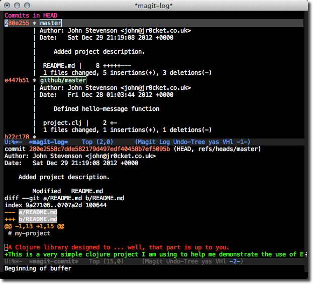 Emacs Magit Log - view the changes in a commit - l L space