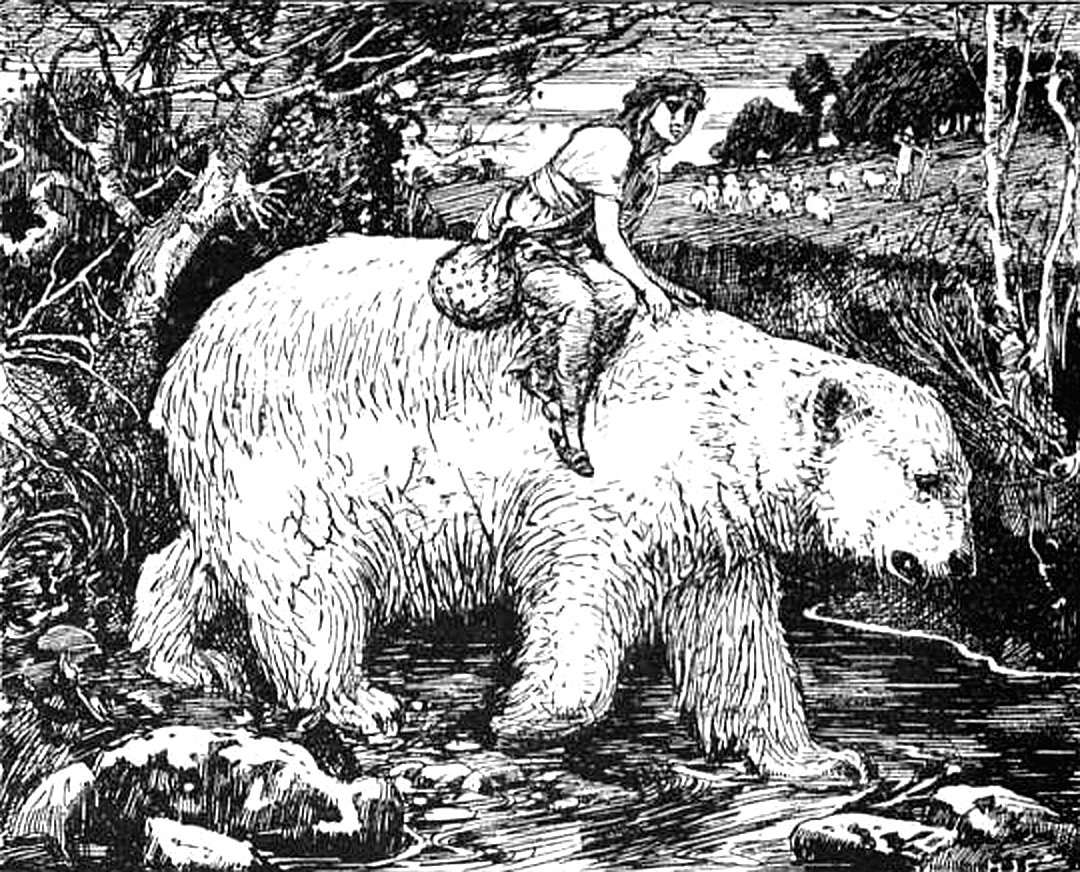 Girl riding on a white bear