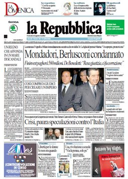 La prima pagina del 10 luglio 2011