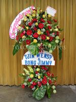 rangkaian bunga standing garbera & mawar