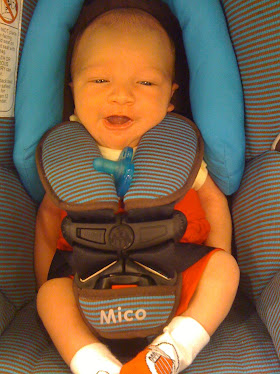 Andres is his car seat (2 weeks old)