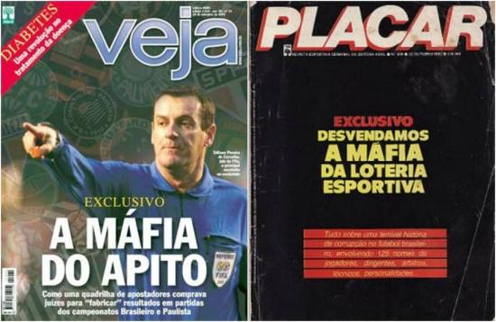 Capas da Veja (à esquerda) em 2005 e da Placar, em 1982