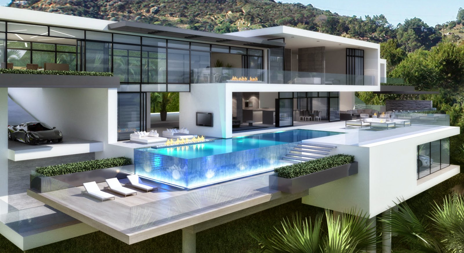 Modern Houses With Pool Contemporary Mansions On Sunset Plaza Drive LA Purchase And Sale