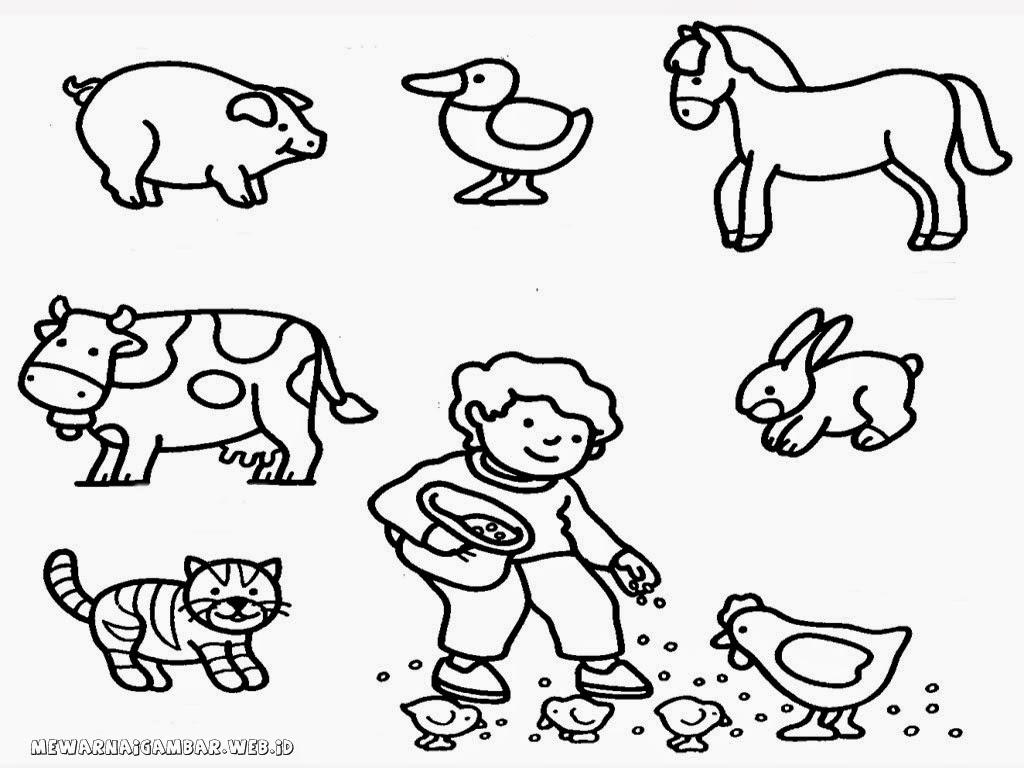 mewarnai gambar binatang ternak