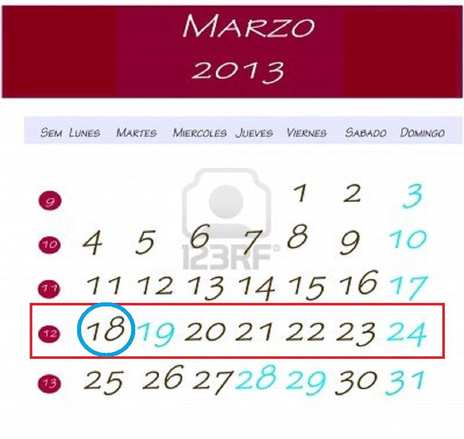 calendario 8 de marzo