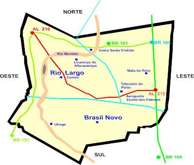 mapa localização rio largo