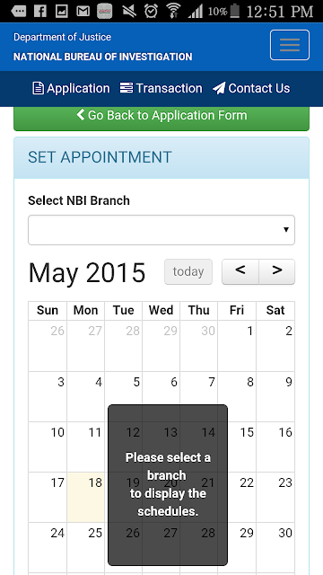 NBI Online Application Step 3 Set Appointment Date