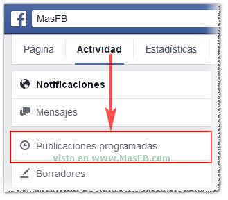 Publicaciones programadas en fanpage - MasFB