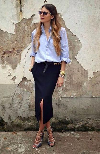 on-trend front-slit pencil skirt