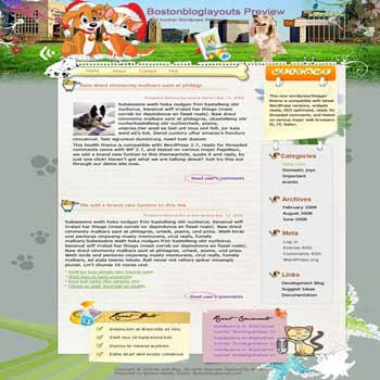 Pet Boss blogger template. converted WordPress to Blogger template. pet template blog