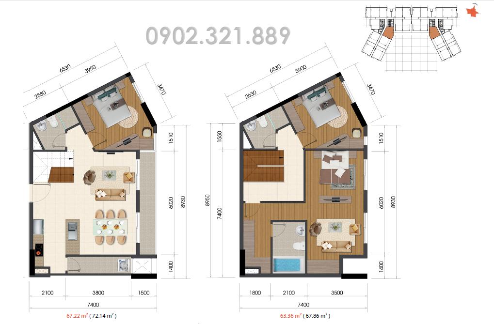 Căn hộ Duplex 130m2 The Everrich Infinity