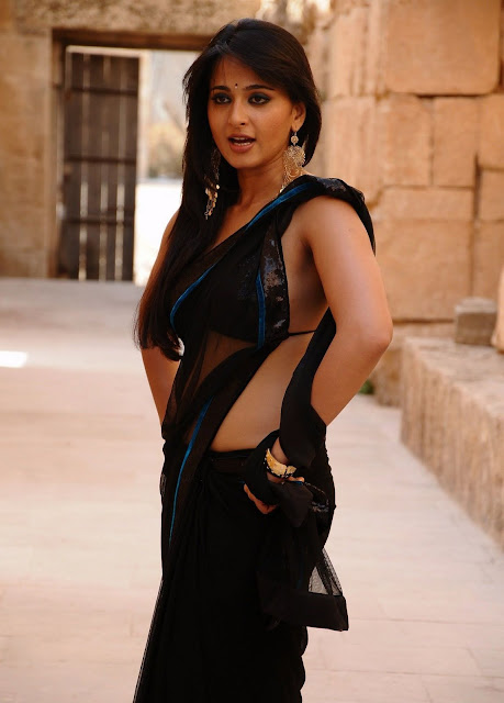 Anushka shetty in String Backless Blouse Design and Geogette Net Saree