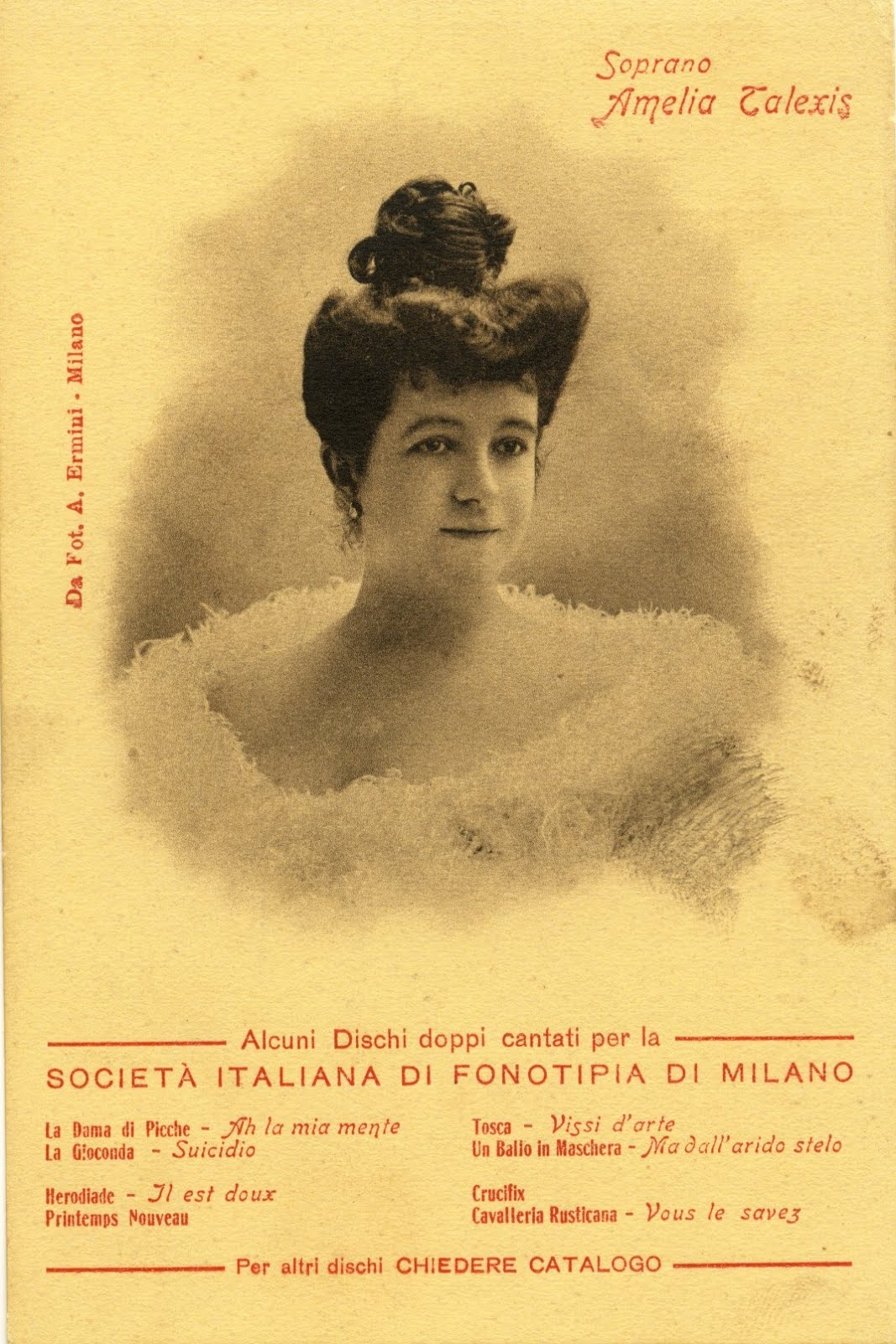 GREAT FRENCH SOPRANO AMELIA TALEXIS (1875 1911) CD