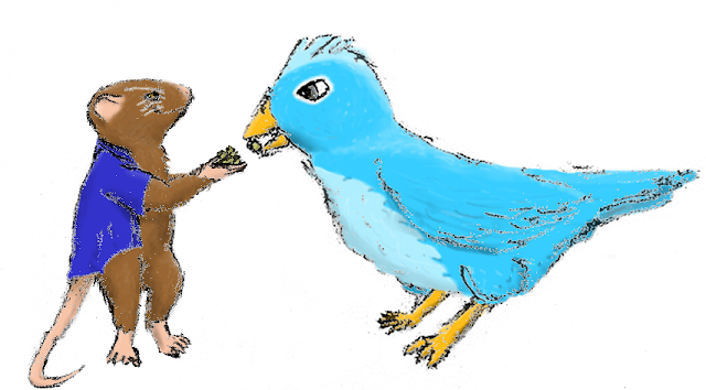 Image: Frank-the-mouse, rendered so that every hair of his fur is visible, feeds a handful of grains to a bird slightly larger than himself, whose plumage resembles that of the Twitter bird.