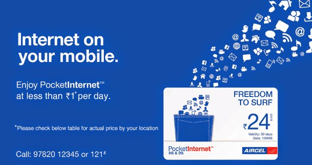 Aircel Internet offers : Free Facebook,Free Music, Free wikipedia, 3G Mornings and Internet at Rs.24 per month, my first internet service