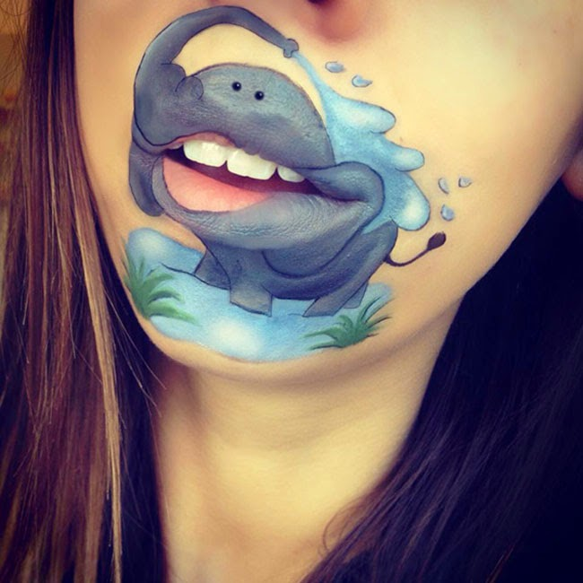 girl transforms her mouth into awesome cartoon characters
