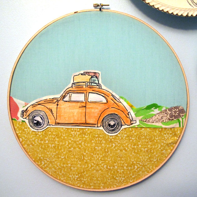 365,bordados,Lucky Jackson,lucky days,embroidery,art,work,coche,car,escarabajo,beetle,naranja,orange