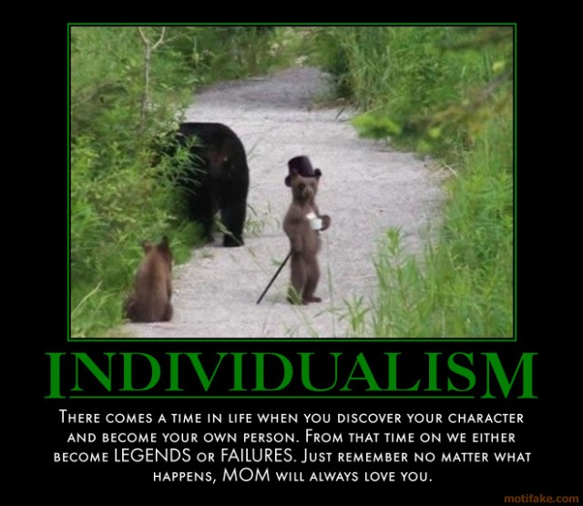 conformity verses individuality Individualism is the one side versus its opposite, collectivism, that is the degree to which individuals are integrated into groups on the individualist side we find.