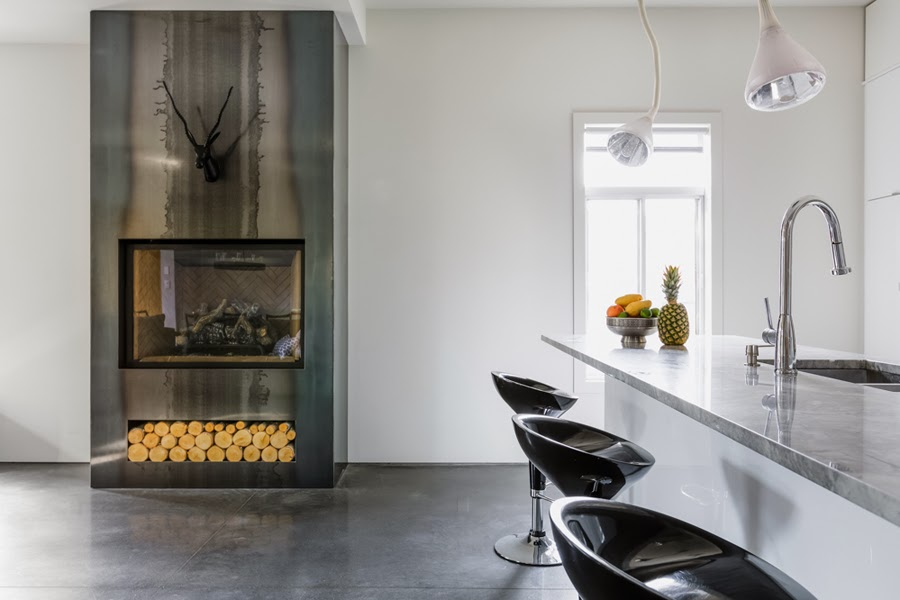 metal modern fireplace