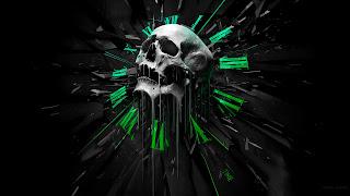 Horror Time Clock Melting Skull Death Black Emo HD Wallpaper