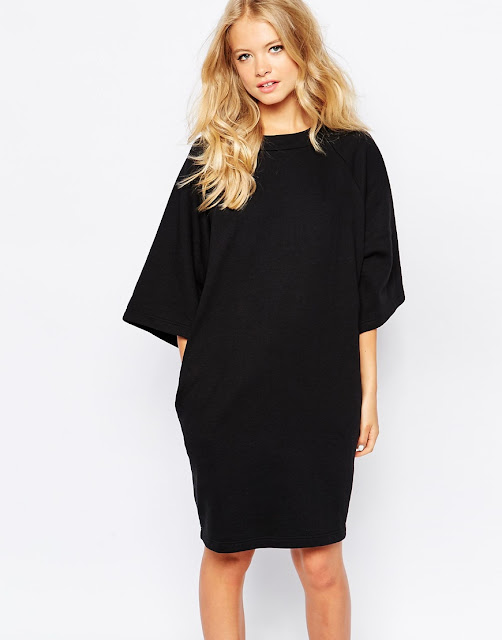 monki black jumper dress,