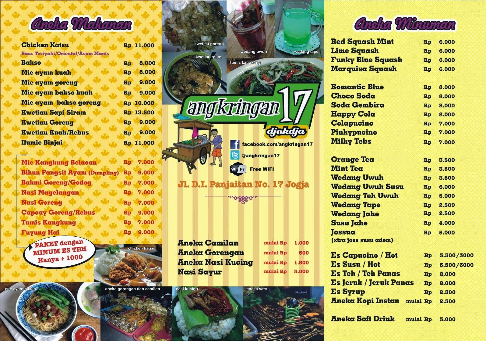 Angkringan 17 info jogja for Z kitchen jogja menu