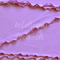 Telekung lycra ungu pastel corak curly di tepi