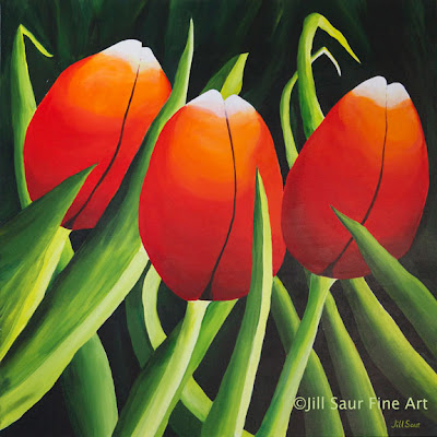 tulip art, tulips in spring, red tulips