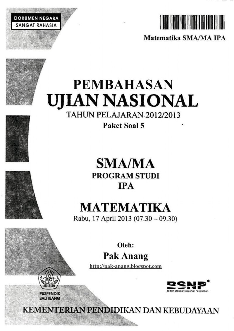 Pembahasan Soal Un Matematika Programme Ipa Sma 2013 (Trik Superkilat) (Paket 5)