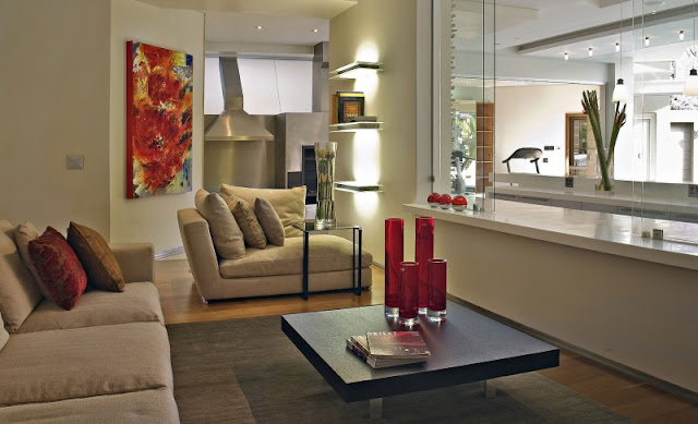 Photo of one of the rooms with two sofas and small coffee table