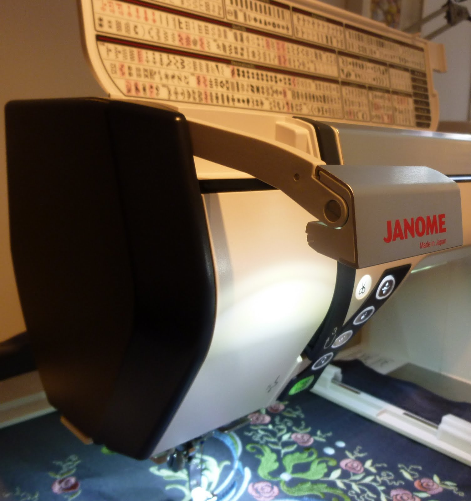Janome memory craft 12000 - The Light Retracts Back Into The Machine When You Are Not Using It And Their Is Also A Acuview Magnifier To Help See Stitching Around The Needle
