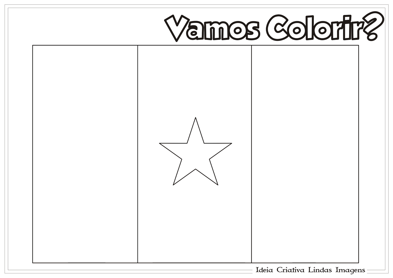 Copa do Mundo 2014 - Grupo A: Camarões bandeira para colorir