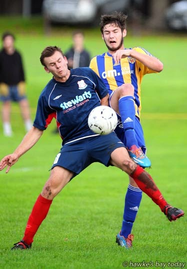 Right: Andrew Potter, Havelock North Wanderers, soccer vs Manawatu Red Sox - Federation League, football at Guthrie Park, Havelock North photograph