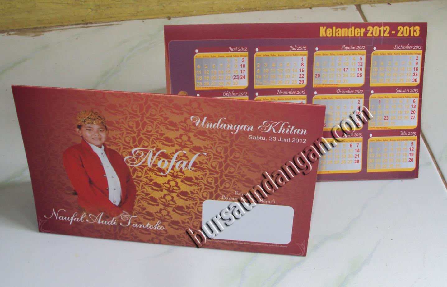 Desain Kartu Undangan khitan dengan model kalender duduk / kalender ...