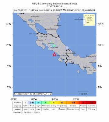 SISMO COSTA RICA 13 DE DICIEMBRE 2012