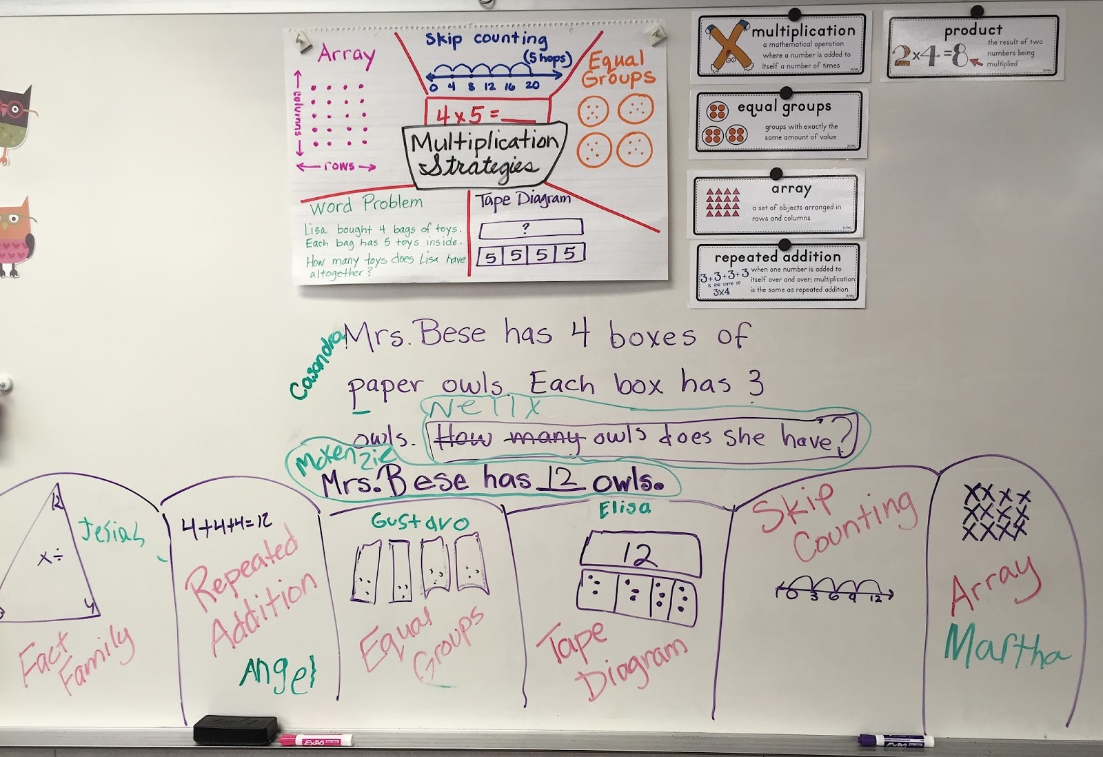 Multiplication formative assessment on white board - Light Bulbs and Laughter Blog
