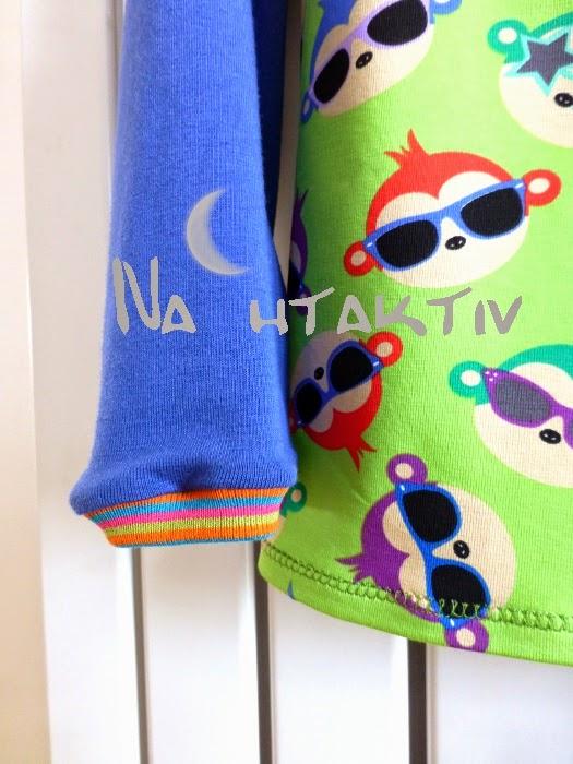 Bündchen Affe Affen Jersey nähen Kinderkleidung nahtaktiv Sonnenbrillen grün blau bunt lila