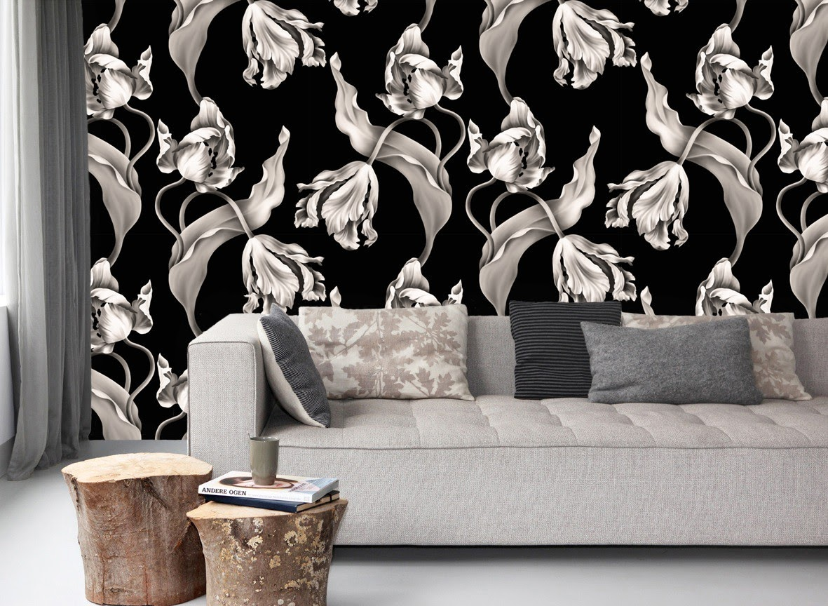 Black floral print wallpaper dark floral wallpaper by ellie cashman - Most Floral Wallpapers Are More Rustic Country Than Sophisticated And Urbane Not The Floral Wallpapers Of Designer Ellie Cashman Her Wallpapers Are Large