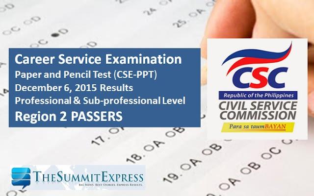 Region 2 Passers: December 6, 2015 Civil service exam (CSE-PPT) results
