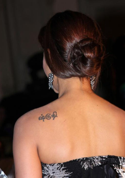 Tamil actress shruti hassan tattoo design celebrity for Tamil tattoos and meanings