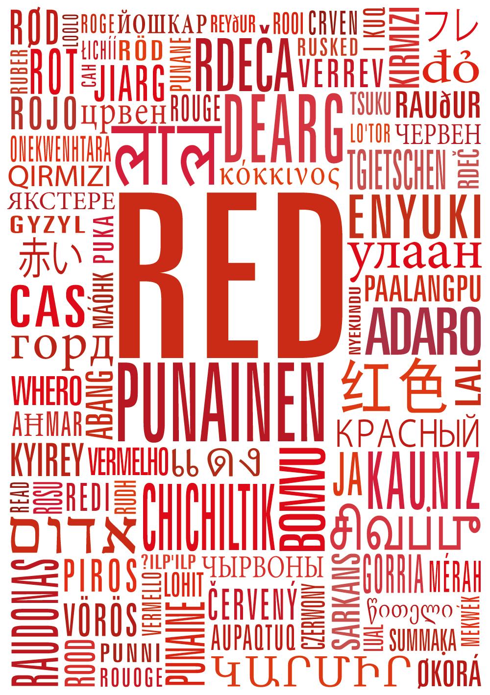 coloria punaista eri kielin