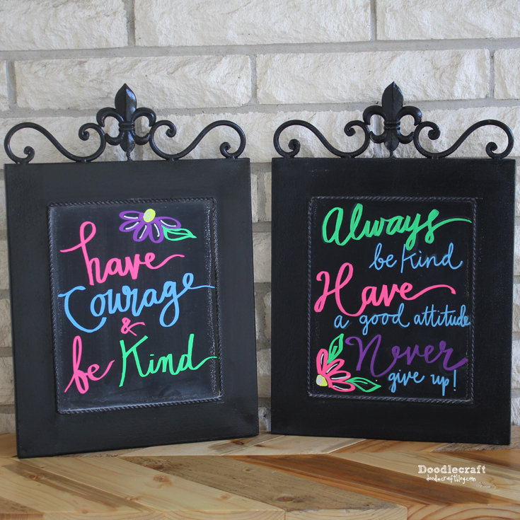 chalkboard wall art with neon chalk markers