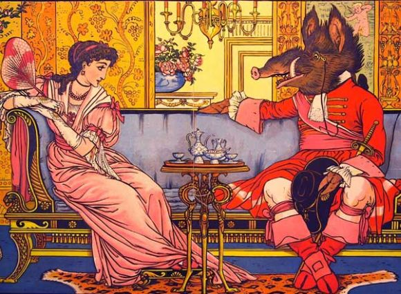 Walter Crane 1874 illusstration of Beauty and the Beast