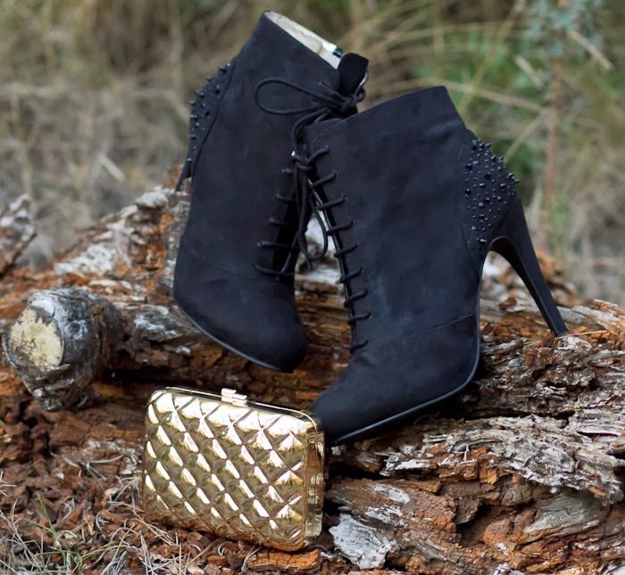 Black Ankle Boots and Golden Quilted engraved Clutch