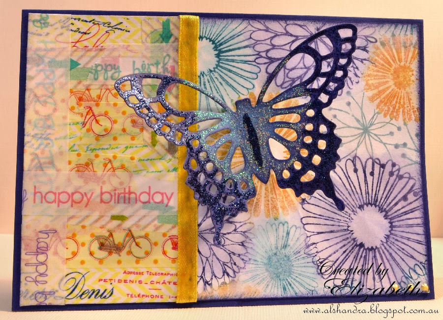 Elizabeth Whisson, Spellbinders Grand Shapeabilities Wonderful Wings, Hero Arts Everything Flowers, washi tape, stickles, distress markers